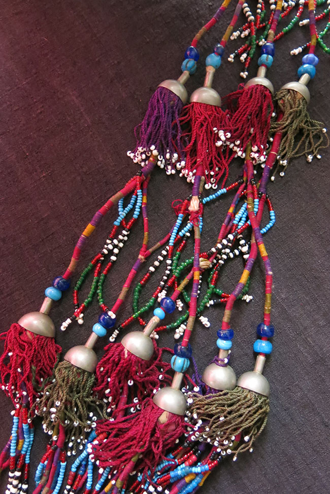 AFGHANISTAN Turkmen tribal silk and glass beaded pair of tassels