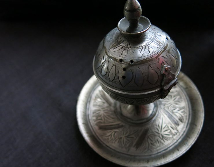 TURKEY - ISTANBUL SULEYMANIYE OTTOMAN antique brass incense burner