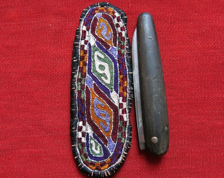 KHORASAN - Kurdish /Turkmen pocket knife with embroidered holder