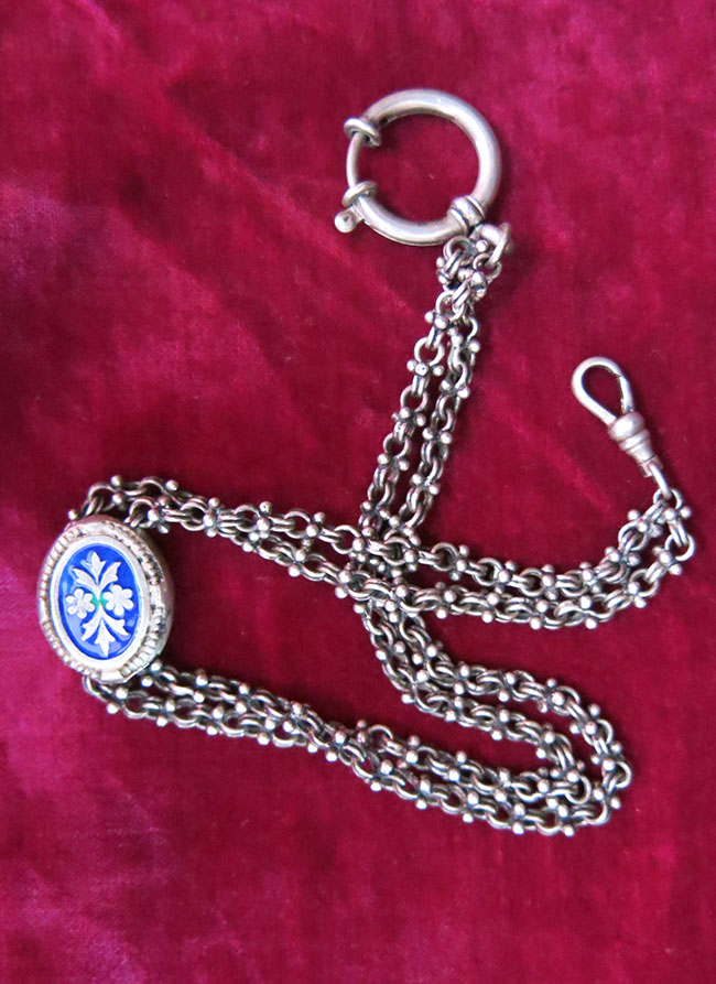 TURKEY ISTANBUL Ottoman silver pocket watch chain with enameled ornament