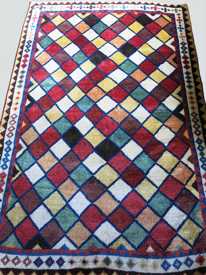 QASHKAI GABBEH tribal all wool rug with elongated squares