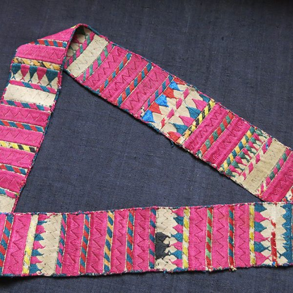 TURKMENISTAN – Saryk / Salor tribal both side embroidered silk band