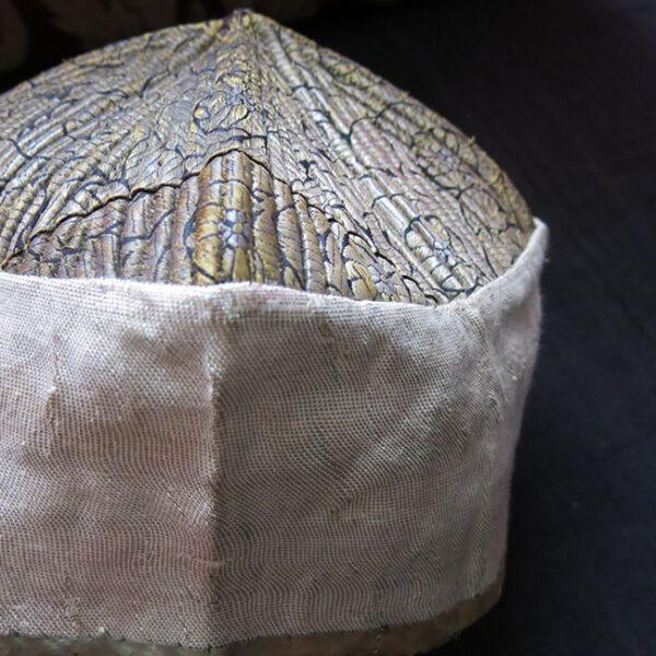 UZBEKISTAN BOKHARA silk brocade religious folding square hat