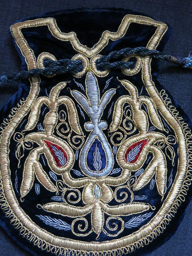 UZBEKISTAN BOKHARA metallic and silk embroidered velvet pouch