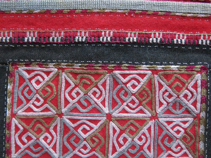 CENTRAL ASIA - TURKMEN CHODOR talisman silk embroidery mirror bag