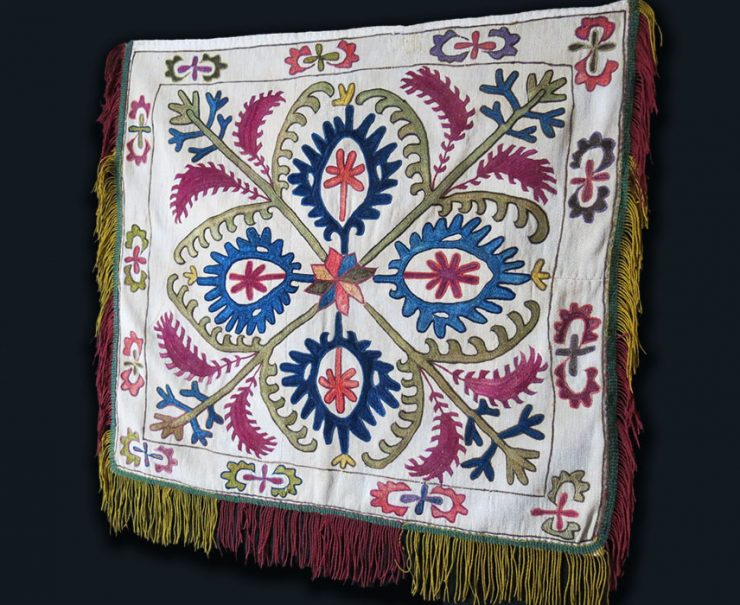 CENTRAL ASIA KYRGYZ silk embroidery wall hanging/mirror cover