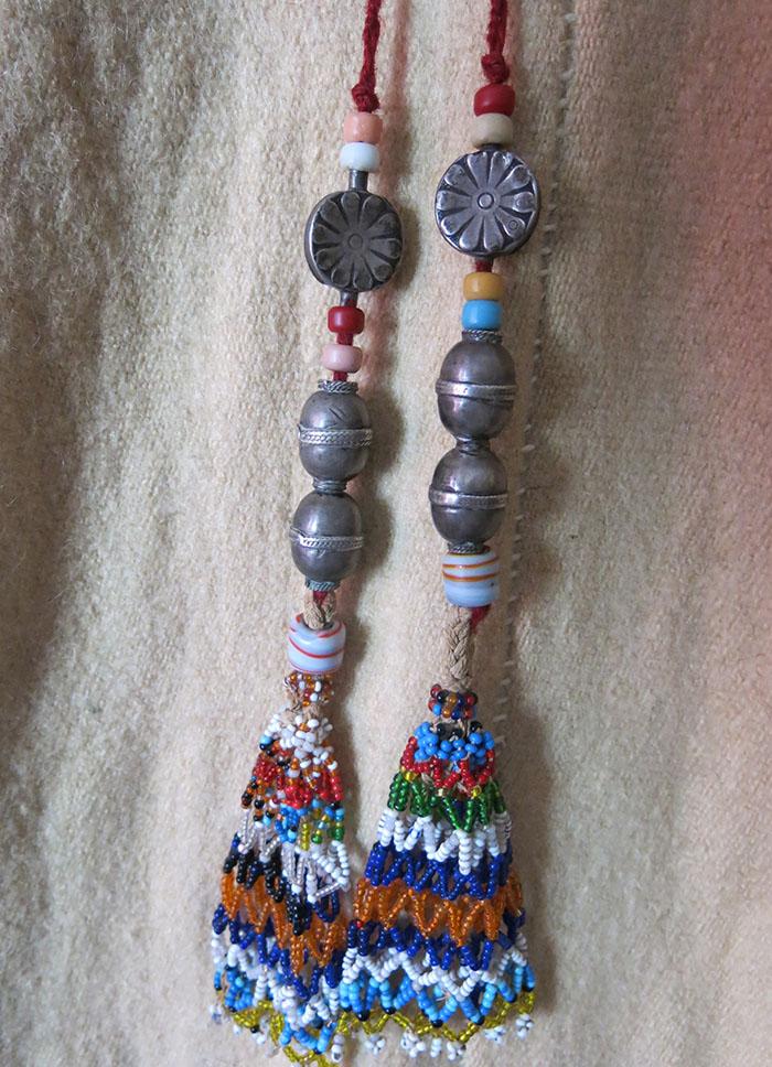 AFGHANISTAN - TURKMEN tribal silver and glass beaded tassels