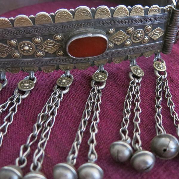 TURKMENISTAN - YOMUD ethnic silver ceremonial Choker / Bukov