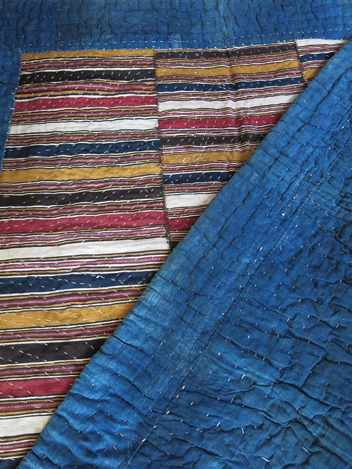 TRANSCAUCAUS SHAHSAVAN ethnic blanket with MAZENDERAN kilim blanket top