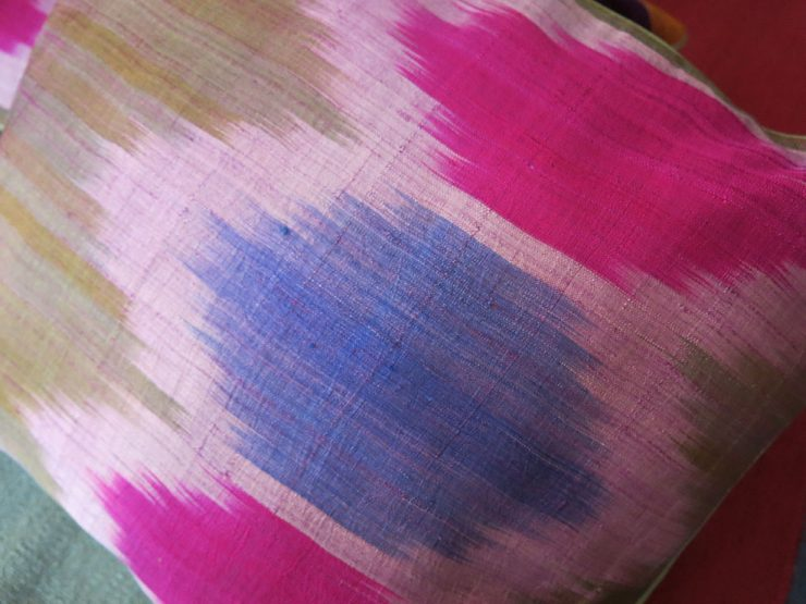TAJIKISTAN - HISSAR SILK IKAT pair of pillow covers