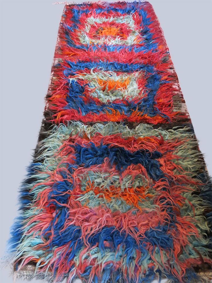 EASTERN TURKEY – Tulu /Tuylu long wool knotted pile shaggy Kurdish tribal rug / kilim
