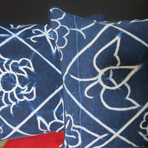 CHINA HMONG tribe indigo batik dyed pair of pillows