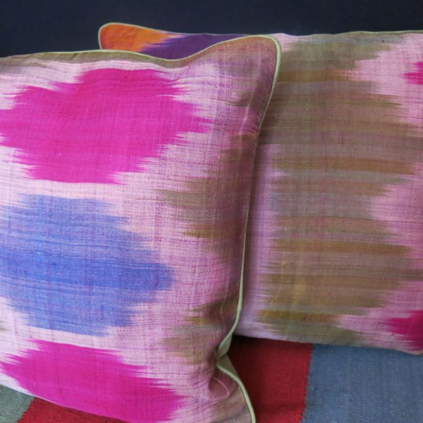 TAJIKISTAN - HISSAR SILK IKAT pair of pillow covers