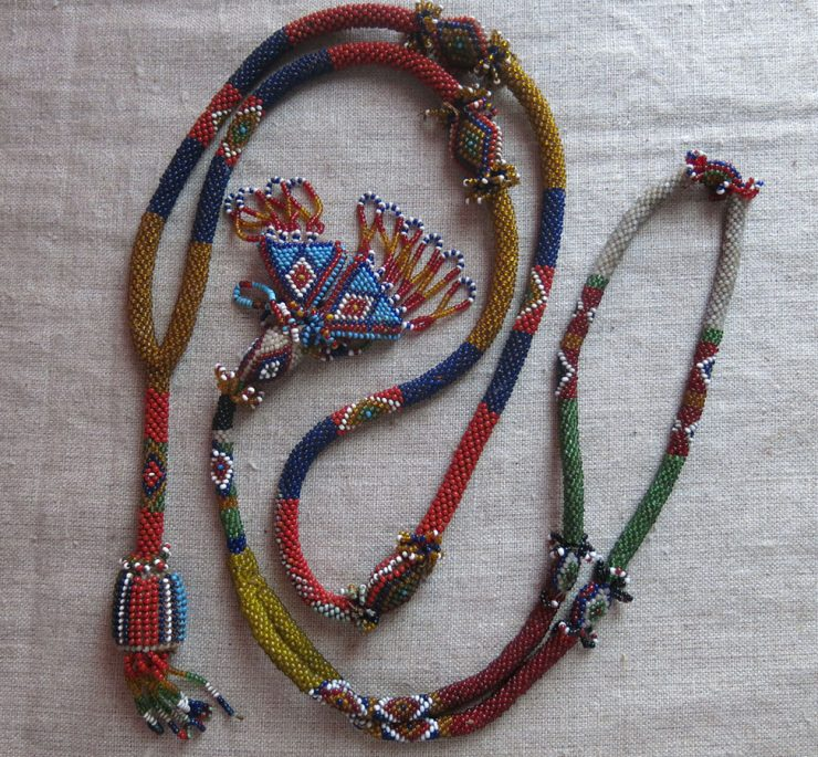 CENTRAL ANATOLIAN AFYON glass beaded pair of necklaces