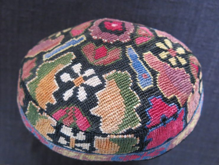 UZBEKISTAN – BOKHARA Silk cross stitch embroidered ethnic hat
