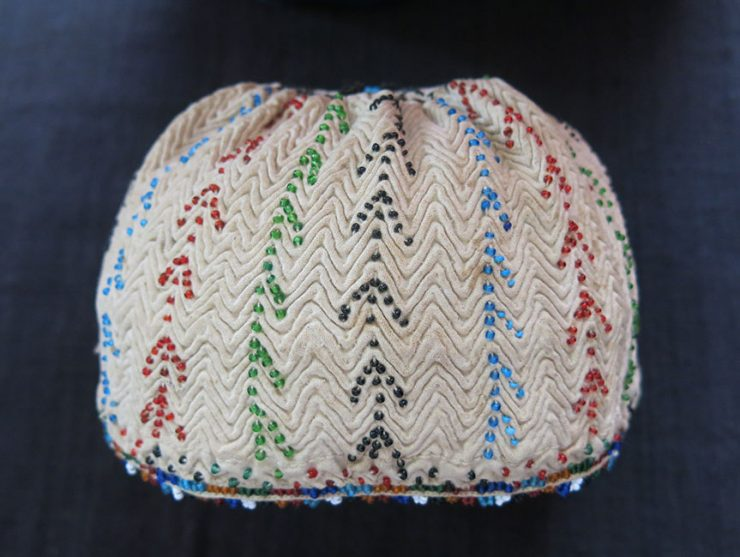 ANATOLIAN – KUTAHYA province, tribal glass beads embroidered hat