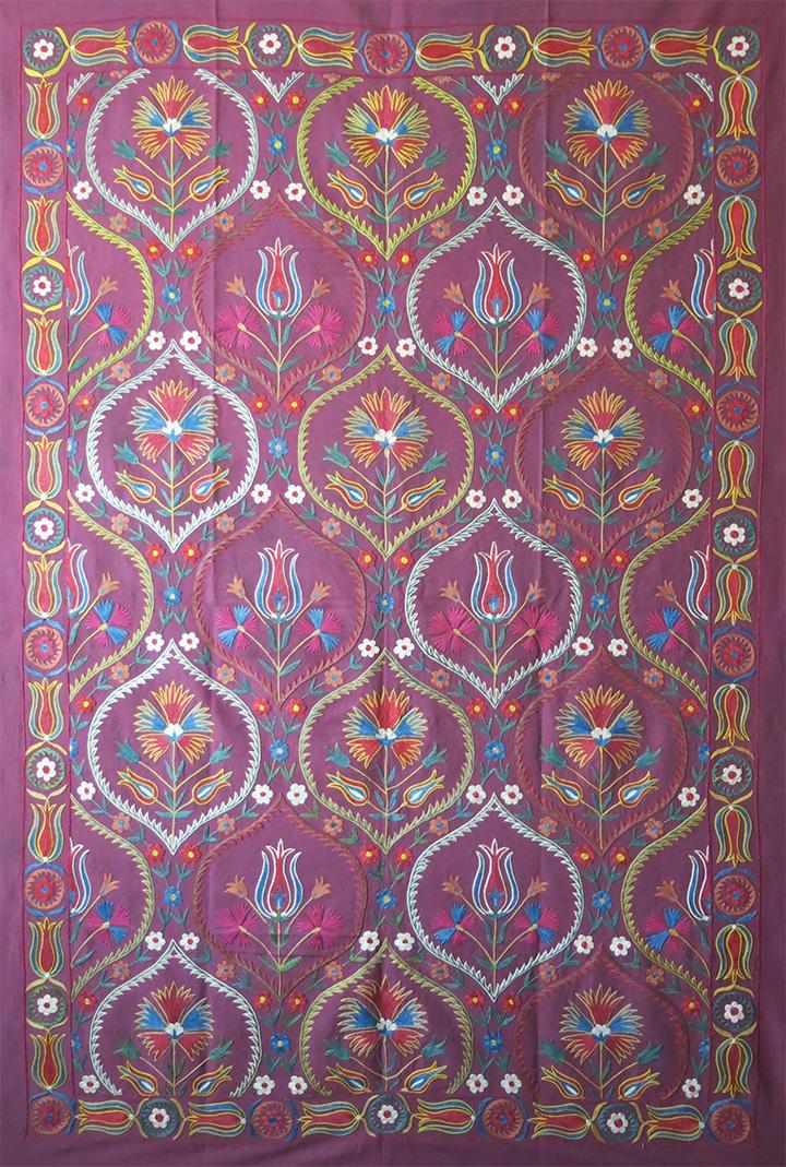 UZBEKISTAN FARGAN VALLEY hand embroidered silk Suzani