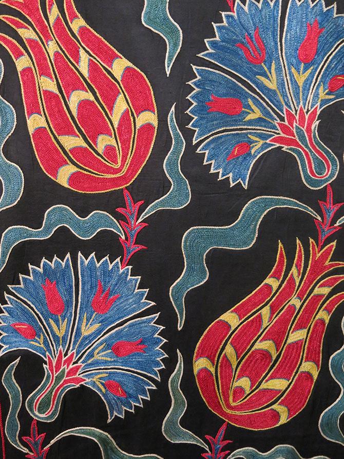 UZBEKISTAN FARGAN VALLEY hand embroidered silk Suzani runner/wall hanging