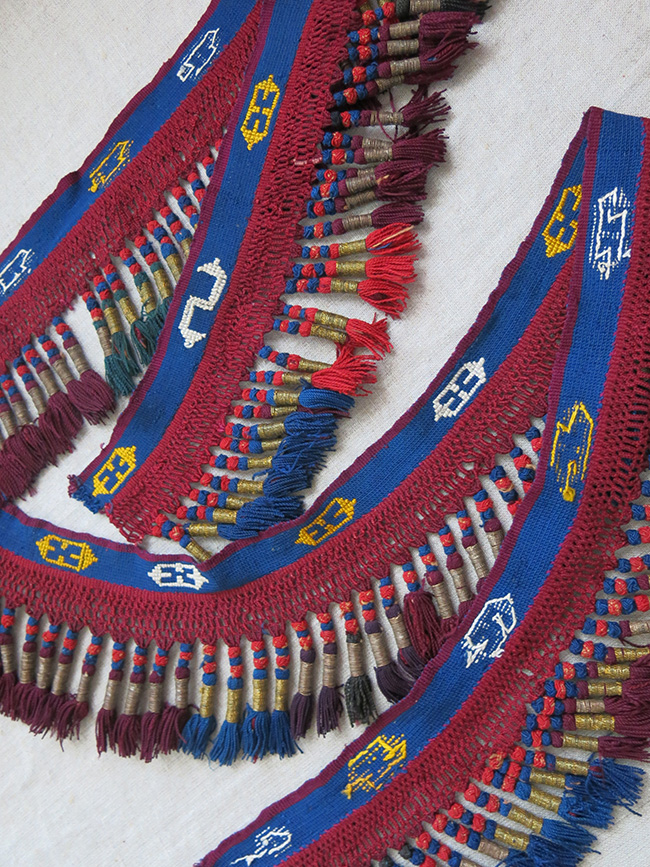 KYRGYZSTAN - Tribal SILK and METALLIC embroidered tassels