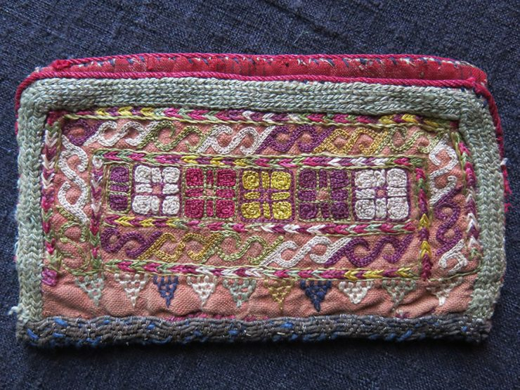 TURKMEN CHODOR tribal small silk embroidery personal bag