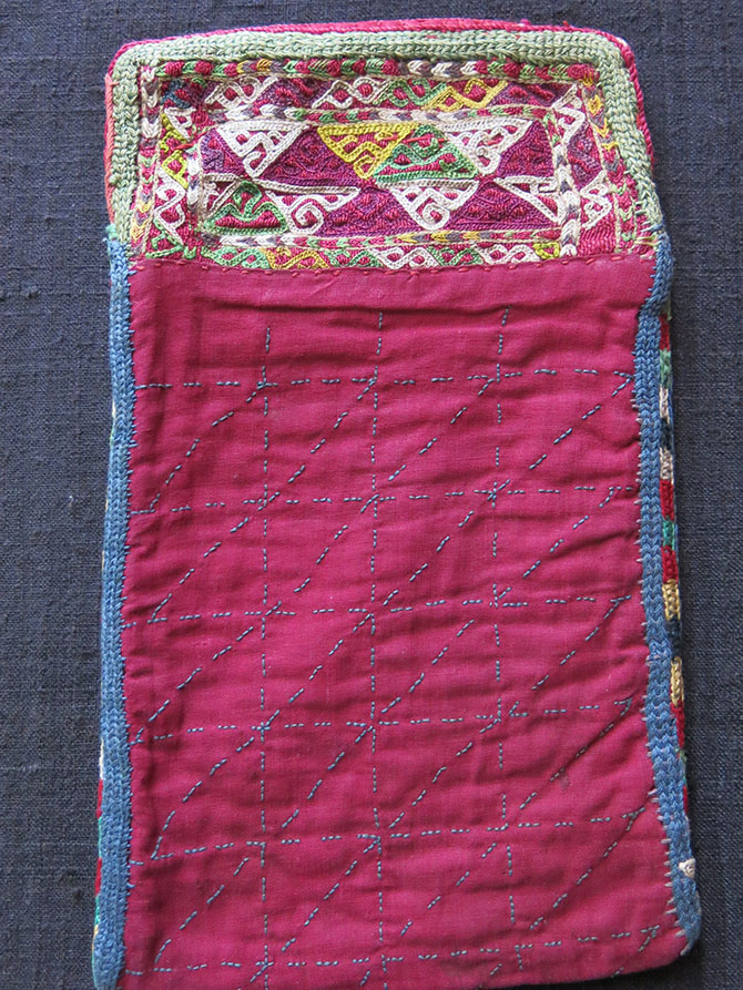 TURKMEN CHODOR small silk embroidered bag
