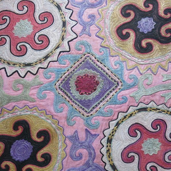 TAJIKISTAN – KUNGRAT tribal silk embroidery mirror cover