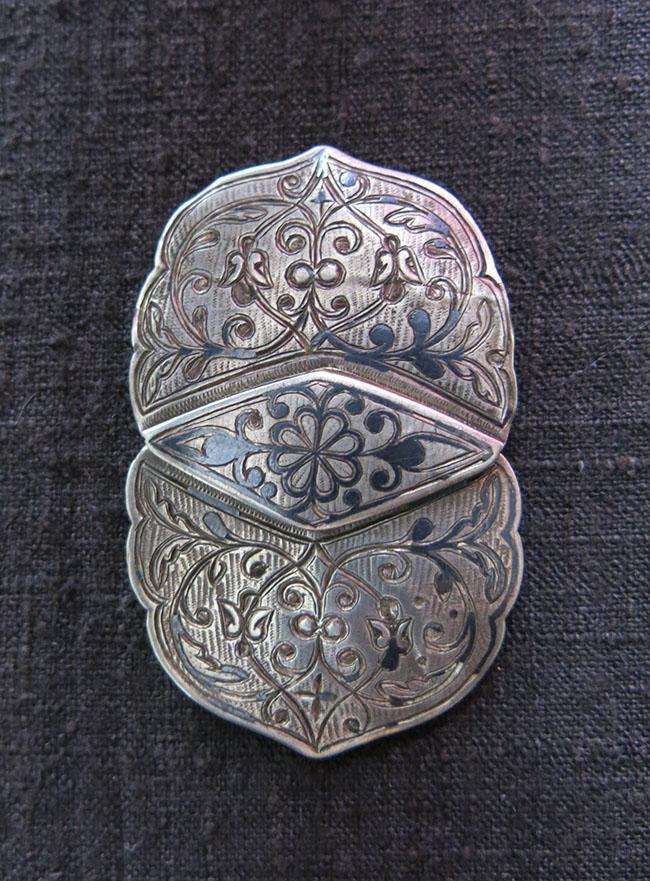 TURKEY - ISTANBUL – SULEYMANIYE OTTOMAN silver NIELLO belt buckle
