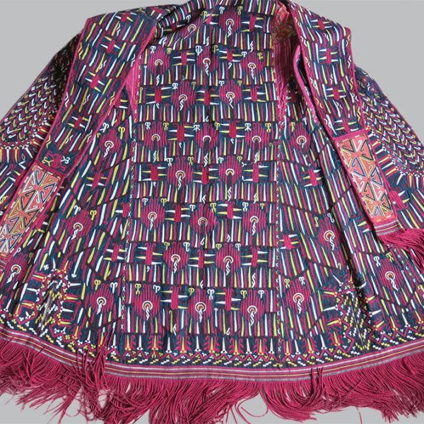 TURKMEN TEKKE antique silk embroidered overhead Cape / Chirpy