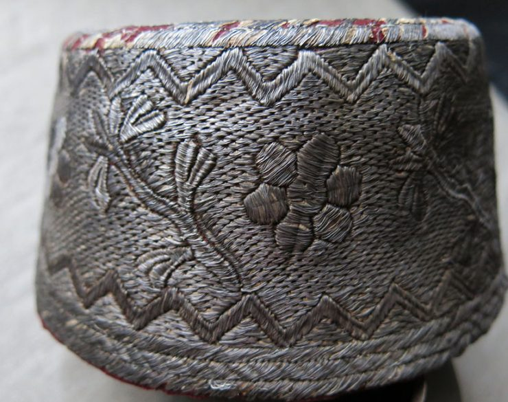 """OTTOMAN Silver embroidered """"FEZ"""" – """"Tarboosh"""" STYLE antique HAT"""