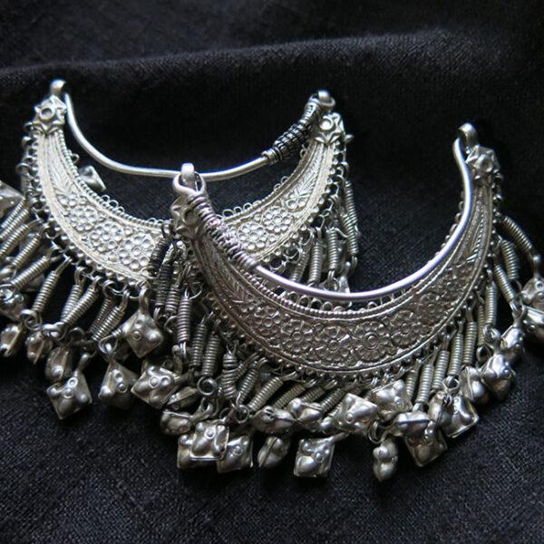 AFGHANISTAN PASHTUN tribal silver costume earrings