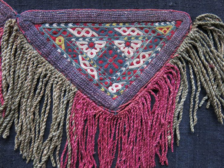 TURKMEN CHODOR tribal talismanic silk embroidery hanging