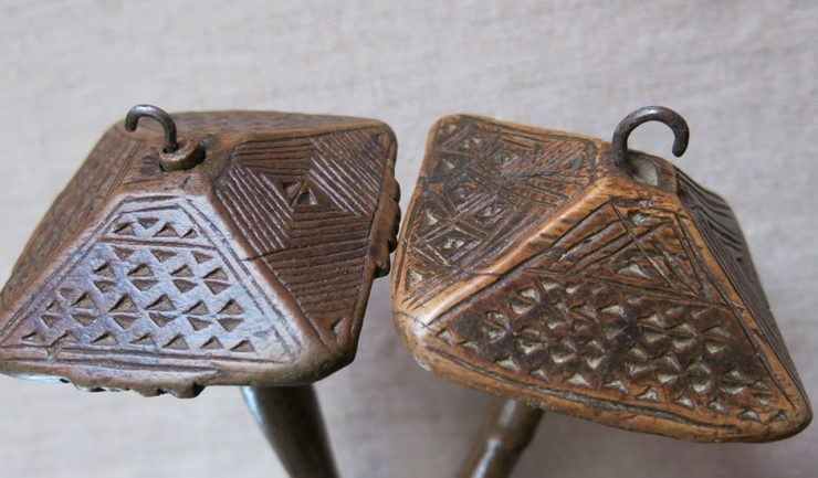 ANATOLIAN – AKSARAY tribal hand carved wooden pair of drop spindles