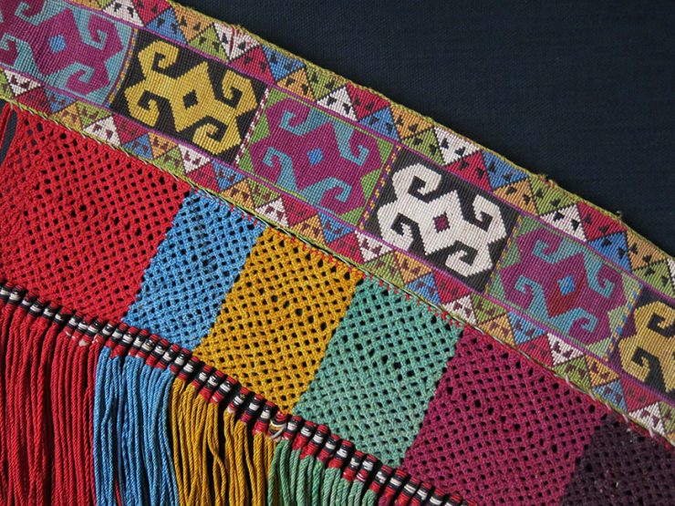 UZBEKISTAN LAKAI Saygosha silk embroidery tribal indoor ornament