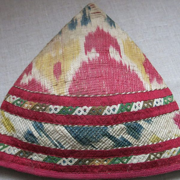 TURKMEN CHODOR tribal ceremonial woman's silk ikat hat