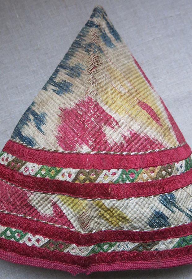 TURKMEN CHODOR tribal ceremonial woman's silk ikat hat