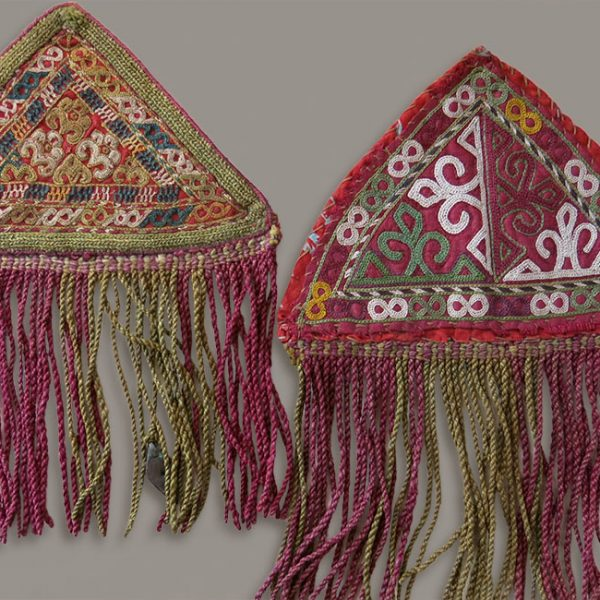 TURKMEN CHODOR silk embroidery Talisman triangle hangings