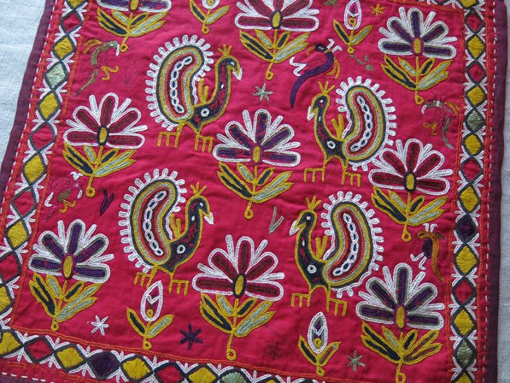 INDIA GUJARAT Silk embroidery small ceremonial hanging