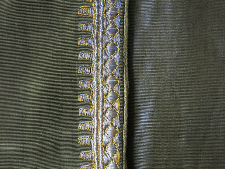 SYRIAN traditional Aba- Silk Ikat coat with metallic embroidery collar