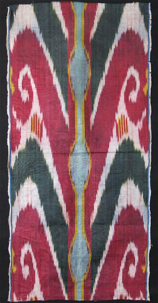 UZBEKISTAN FARGANA VALLEY antique silk Adras Ikat panel
