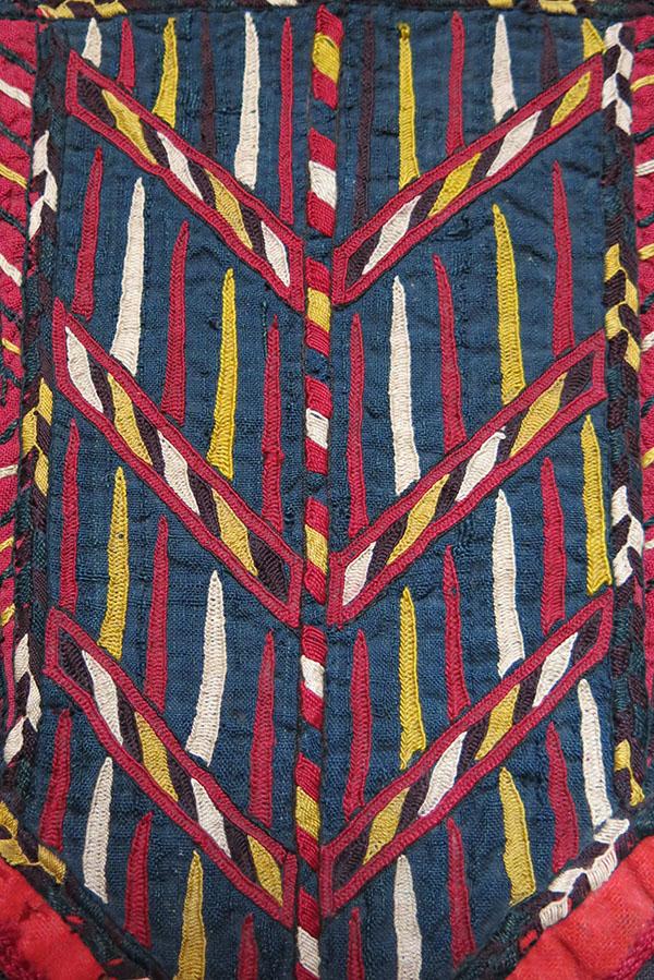 TEKKE TURKMEN silk embroidered camel headwear fragment