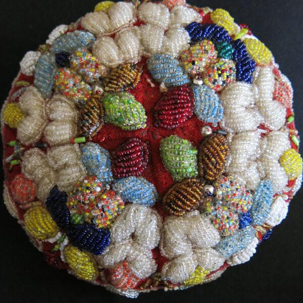 UZBEKISTAN – FARGANA TASHKENT Antique glass beaded skull cap