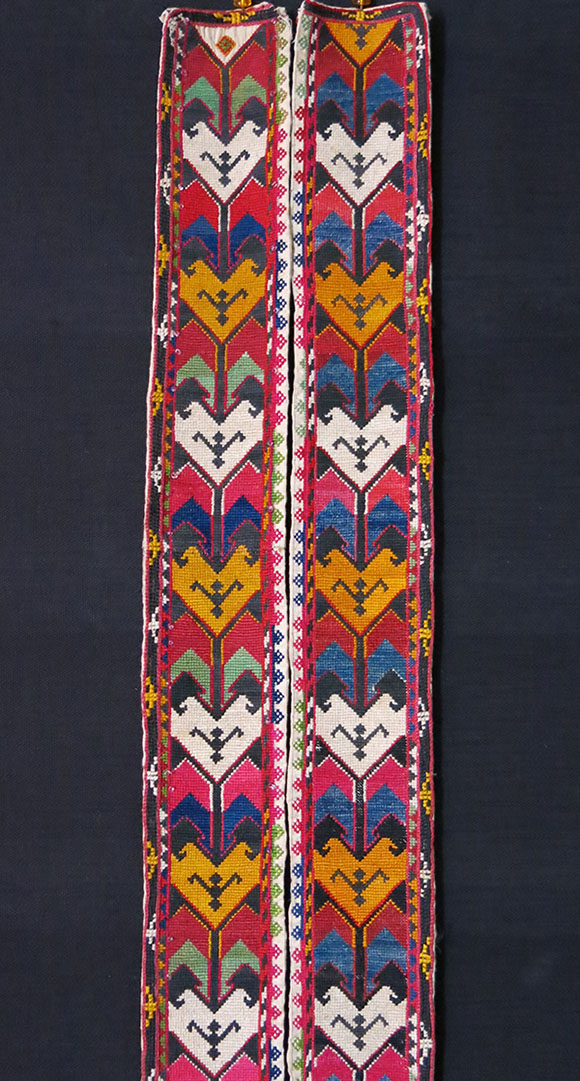 UZBEKISTAN – LAKAI tribal silk embroidered pair of belts