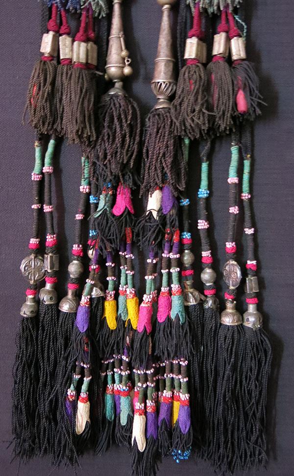 UZBEKISTAN – SURKHANDARYA, tribal silk braided tassels