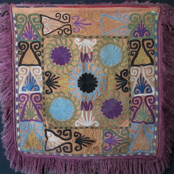 UZBEKISTAN LAKAI Tribal silk embroidery mirror cover / hanging