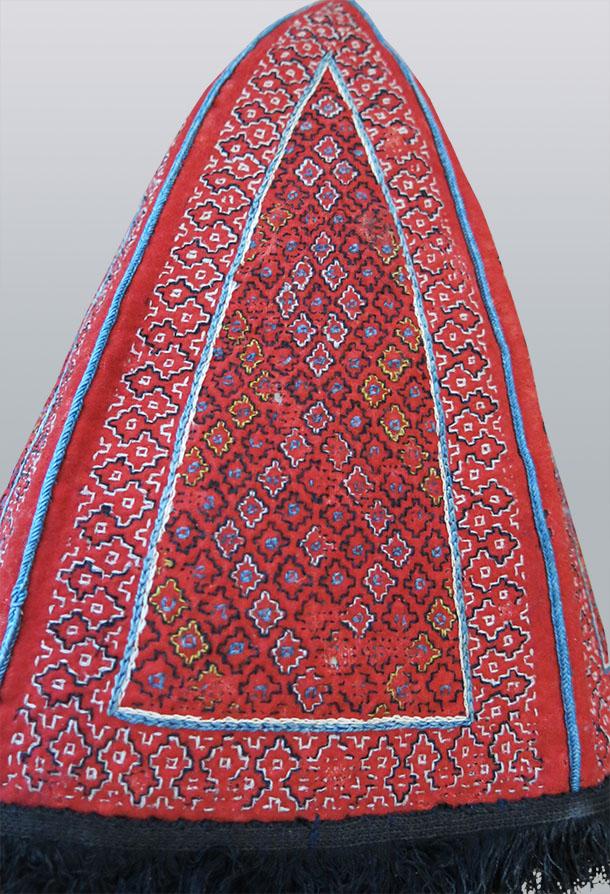 CENTRAL ASIA silk embroidered Dervish hat