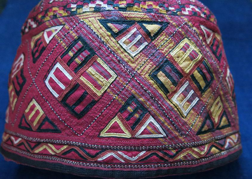 CENTRAL ASIA TEKKE TURKMEN silk embroidered ceremonial hat