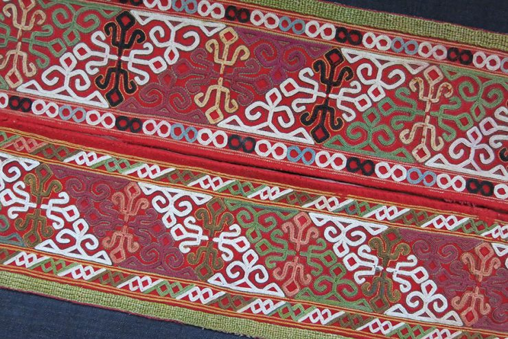 CENTRAL ASIA CHODOR TURKMEN silk embroidery fragments