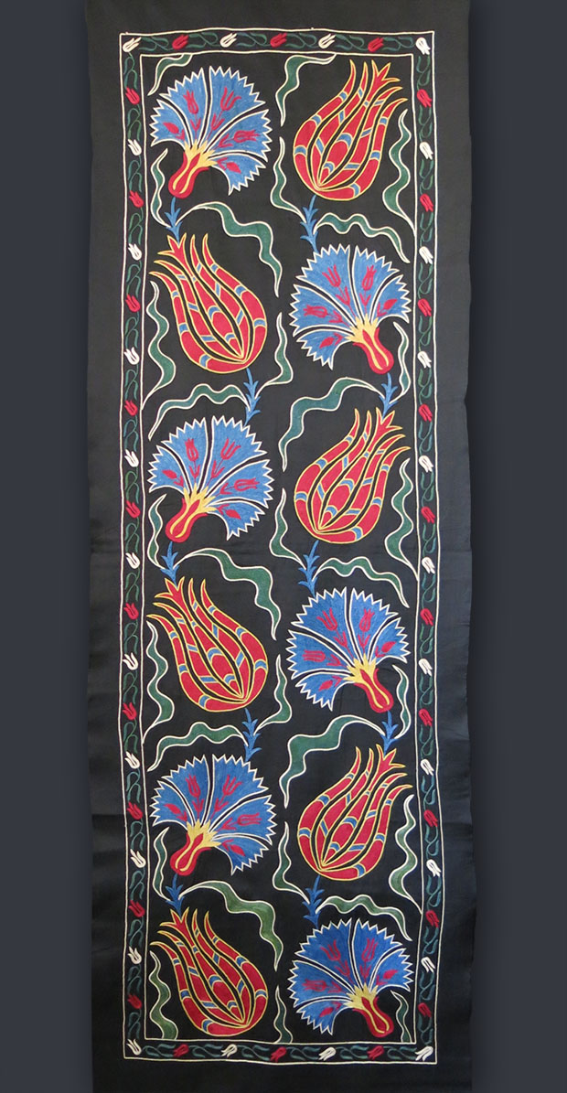 UZBEKISTAN FARGAN VALLEY handmade silk Suzani wall hanging/ Table runner