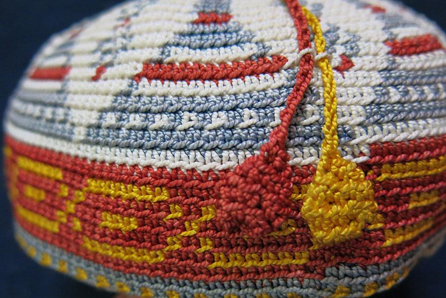SYRIA LEBANON KURDISH tribal hand knitted silk hat / skull cap