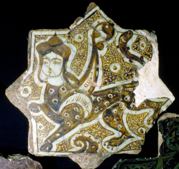 Sphynx on eight pointed star tile, Karatay Museum - Konya